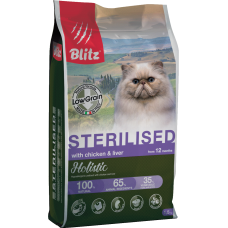 Купить Blitz Sterilised Cats With Chicken & Liver all breeds (low grain) низкозерновой сухой корм для кастрированных котов и стерилизованных кошек всех пород с курицей и печенью