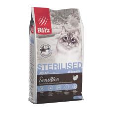 Купить Blitz Sterilised Cats для кастрированных котов и стерилизованных кошек с индейкой