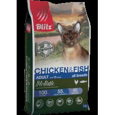 Купить Blitz Adult Cat Chicken & Fish all breeds (low grain) низкозерновой сухой корм для взрослых кошек всех пород с курицей и рыбой