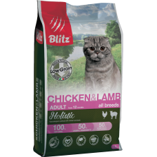 Купить Blitz Adult Cat Chicken & Lamb all breeds  (low grain) низкозерновой сухой корм для взрослых кошек всех пород с курицей и ягненком