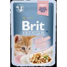 Brit Premium Kitten Chicken Fillets Gravy влажный корм для котят, кусочки куриного филе в соусе