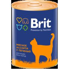 Brit Premium Beef and Liver Medley мясное ассорти с печенью консервы для кошек всех пород 340 гр