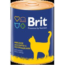 Brit Premium Beef and Offal Medley мясное ассорти с потрошками консервы для кошек всех пород 340 гр