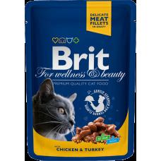 Brit Premium Chicken & Turkey влажный корм с курицей и индейкой для взрослых кошек 100гр