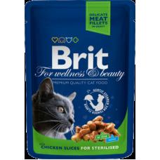 Brit Premium Chicken Slice Sterilized влажный корм с курицей для стерилизованных кошек  100 гр