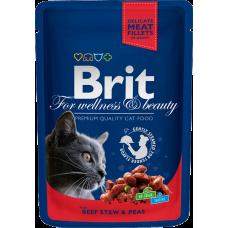 Brit Premium Beef Stew & Peas Влажный корм для взрослых кошек (говядина, горошек).