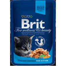 Brit Premium Chicken Chunks for Kitten влажный корм с кусочками курицы для котят 100 гр