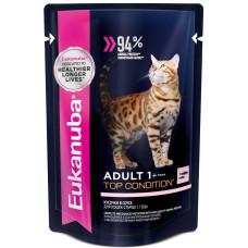 Eukanuba Adult 1+ Top Condition with Salmon влажный корм для кошек с лососем