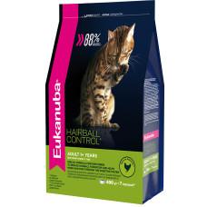 Купить Eukanuba Adult Hairball Control для кошек,способствует выведению комочков шерсти из желудка