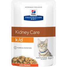 Hill's Prescription Diet Kidney Care k/d with Chicken Cat (в соусе, пауч) влажный диетический корм для кошек для поддержания здоровья почек с курицей