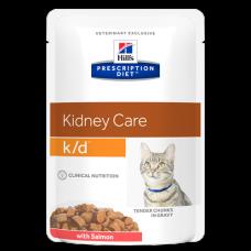 Купить Hill's Prescription Diet Kidney Care k/d with Salmon Cat (в соусе, пауч) влажный диетический корм для кошек для поддержания здоровья почек с лососем