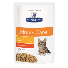 Купить Hills Prescription Diet Feline c/d Multicare with Chicken влажный диетический корм с курицей для кошек для поддержания здоровья мочевыводящих путей