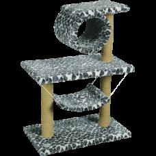 Комплекс для кошек, цв.мех, 2-х этаж.труба+гамак Зооник (700х400х900) арт.22036