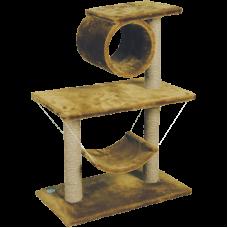 Купить Комплекс для кошек., одн.мех, 2-х этаж.труба+гамак Зооник (700х400х900) арт.22039