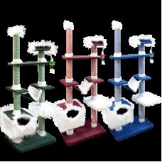 Игровой комплекс многоуровневый, для кошек, велюр+мех, сизаль+канат х/б. Зооник (1100х470х1900)