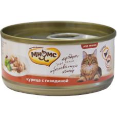 Мнямс консервы для кошек Курица с говядиной в нежном желе 70 г