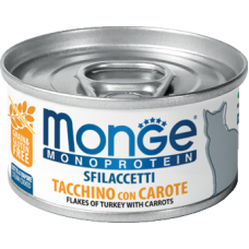 Monge Monoprotein Sfilaccetti Tacchino con Carote (банка) монопротеиновый влажный корм для взрослых кошек с добавлением моркови,содержащий только мясо индейки