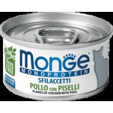 Monge Monoprotein Sfilaccetti Pollo con Piselli (банка) монопротеиновый влажный корм для взрослых кошек с добавлением горошка,содержащий только мясо курицы
