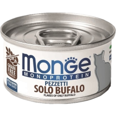 Купить Monge Monoprotein Pezzetti Solo Bufalo (банка) мясные хлопья для кошек из мяса буйвола