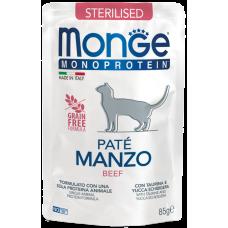 Monge Monoprotein Sterilised Pate Manzo (пауч) беззерновой монобелковый рацион в виде паштета из мяса говядины для стерилизованных кошек с особыми потребностями