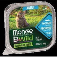 Купить Monge BWild Grain Free Adult Cat Anchovies беззерновые консервы из анчоусов с овощами для взрослых кошек
