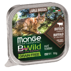 Купить Monge BWild Grain Free Large Cat Buffalo беззерновые консервы из буйвола с овощами для кошек крупных пород