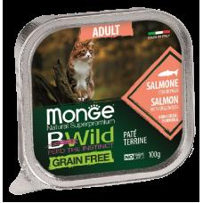 Monge BWild Grain Free Adult Cat Salmon беззерновые консервы из лосося с овощами для взрослых кошек
