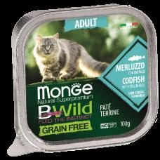 Купить Monge BWild Grain Free Adult Cat Cod беззерновые консервы из трески с овощами для взрослых кошек
