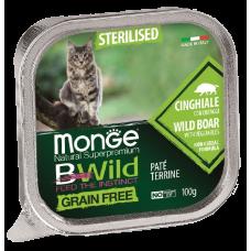 Купить Monge BWild Grain Free Sterilised Cat Boar беззерновые консервы из кабана с овощами для стерилизованных кошек
