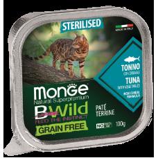 Купить Monge BWild Grain Free Sterilised Cat Tuna беззерновые консервы из тунца с овощами для стерилизованных кошек