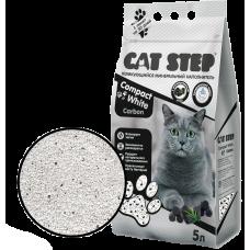 Cat Step Compact White Carbon комкующийся минеральный наполнитель из природной белой бентонитовой глины с активированным углём