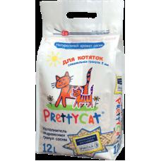 Купить PrettyCat Wood Granules наполнитель созданный специально для котят из древесных гранул сосны, тонкие длинные гранулы не пылят и не травмируют лапки