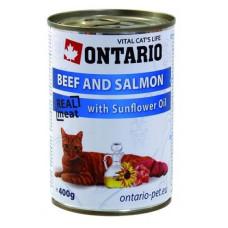 Ontario консервы для кошек говядина и лосось 400 гр