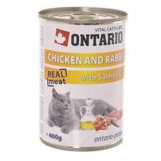 Ontario консервы для кошек курица и кролик 400 гр