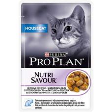 PRO PLAN NUTRISAVOUR Housecat влажный корм для кошек живущих дома вкусные кусочки в желе с индейкой