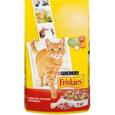 Купить Friskies сухой корм для взрослых кошек с мясом, печенью и курицей