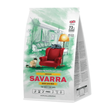 Savarra Indoot Cat Holistic гипоаллергенный корм для взрослых кошек, живущих в помещении (утка/рис)