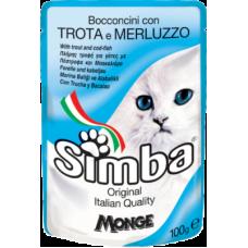 Купить Simba Cat con Trota e Merluzzo (пауч) влажный корм с форелью и треской для кошек 100 гр