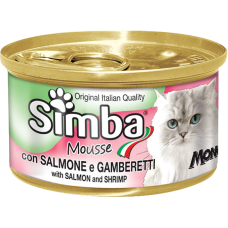Simba Cat Mousse with Salmon and Shrimp мусс с лососем и креветками для кошек 85 гр