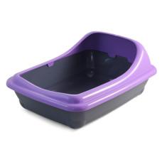 Туалет для кошек прямоугольный с ассиметричным бортом, 455*355*200мм