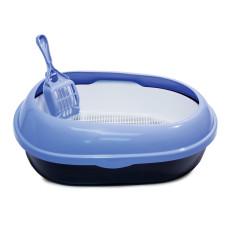 Туалет P541A для кошек овальный с бортом (совок и сетка в комплекте), 500*370*170мм