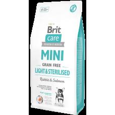 Brit Care Mini Grain Free Light & Sterilised беззерновой корм с кроликом и лососем для собак миниатюрных пород с избыточным весом или стерилизованных