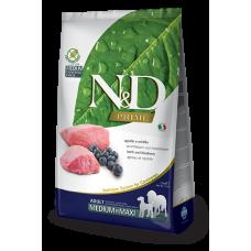 N&D Prime Lamb and Blueberry Recipe Adult Medium & Maxi полнорационный беззерновой сухой корм с ягнёнком и черникой для взрослых собак средних и крупных пород