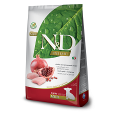 N&D Prime Chicken and Pomegranate Recipe Puppy Mini полнорационный беззерновой корм с курицей и гранатом для щенков мелких пород, а также беременных и кормящих собак