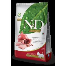 Купить N&D Prime Chicken and Pomegranate Recipe Adult Mini полнорационный беззерновой сухой корм с курицей и гранатом для взрослых собак мелких пород