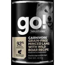 GO! Solutions CARNIVORE GF консервы беззерновые для собак, с рубленым мясом ягненка и дикого кабана 400 гр