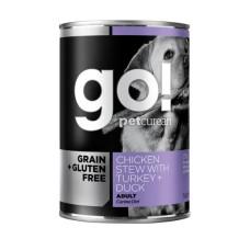 Go Crain + Gluten Free консервы беззерновые с тушеной курицей, индейкой и мясом утки для собак 400 гр (паштет)