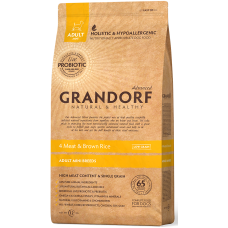 Grandorf 4 Meat & Brown Rice Adult Mini Breeds низкозерновой корм класса холистик 4 вида мяса с бурым рисом для мелких пород