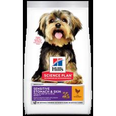 Hill's Science Plan Adult Small & Miniature Sensitive Stomach & Skin with Chicken для взрослых собак мелких и миниатюрных пород с чувствительным пищеварением и кожей,с курицей