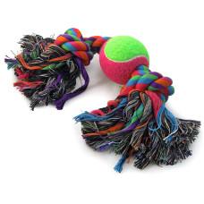 """Купить Игрушка для собак """"Верёвка, 2 узла и мяч"""", d65/350мм"""